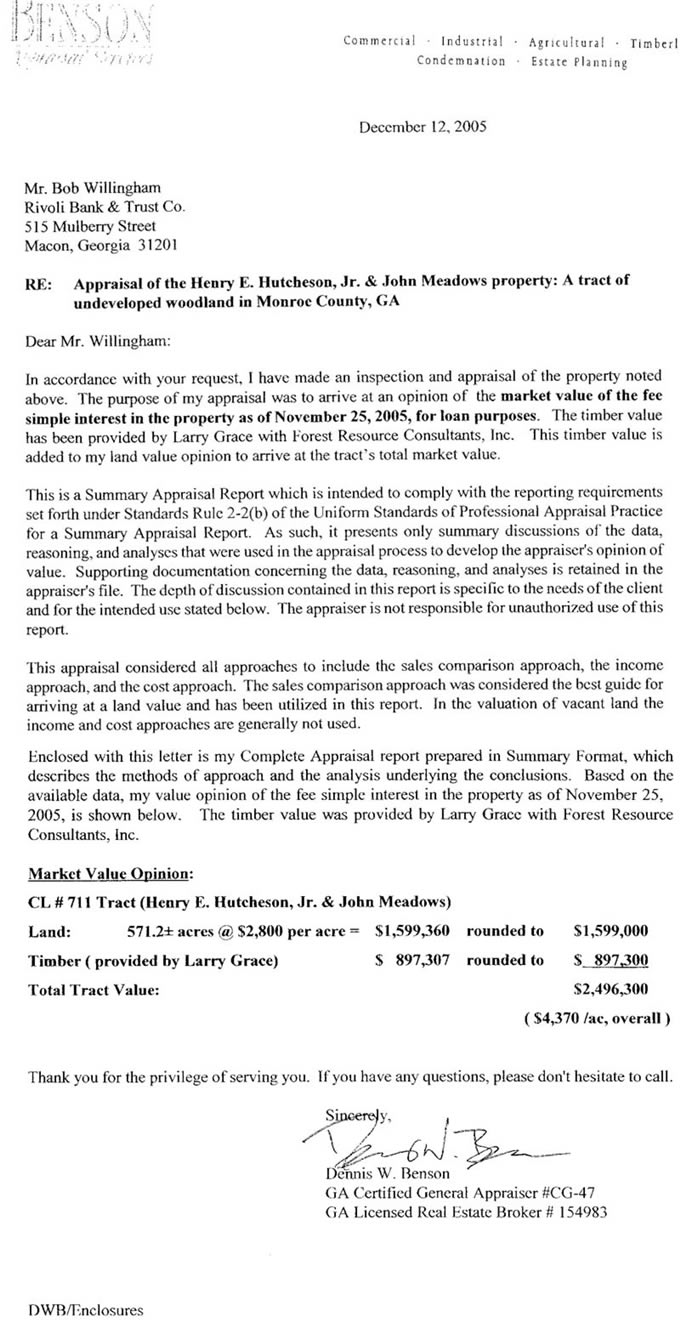 Weyco 711 Appraised Value Report Georgia Timberlands Inc Land – Letter of Appraisal